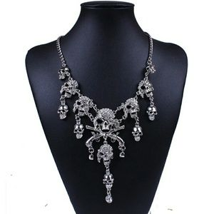 Skull Jewel Encrusted Bib Necklace